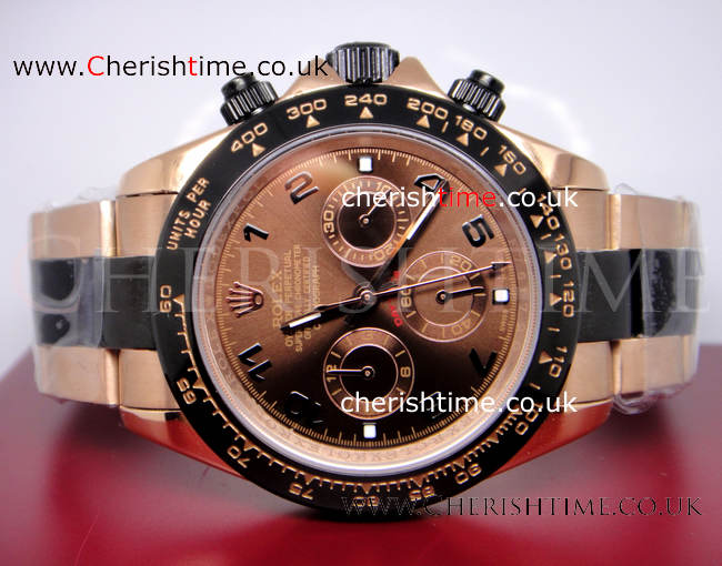 Replica Rose Gold Rolex Daytona Watch Brown Face