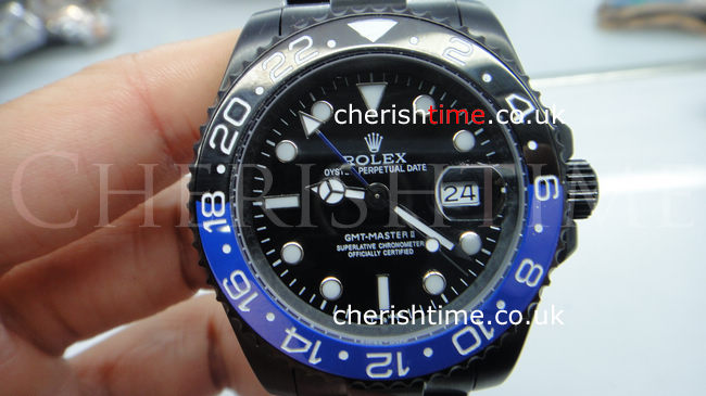 Solid Black GMT Master II / Black and Blue Ceramic Bezel