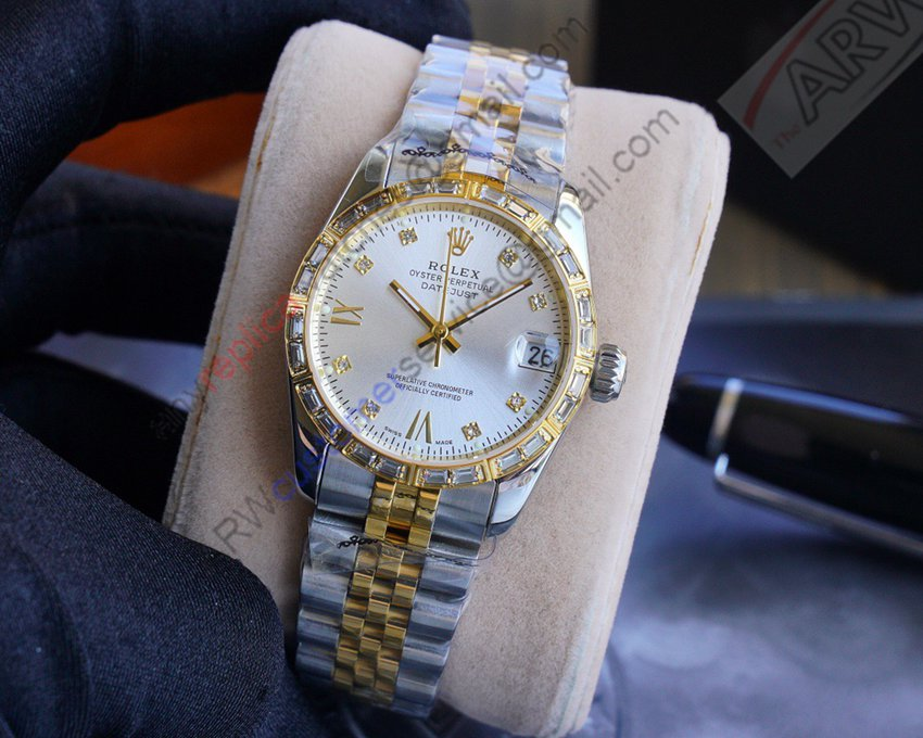 2020 New Replica Rolex Datejust 18K 2-Tone Gold White Diad Watch