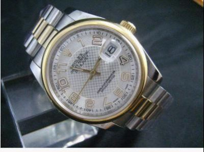 Copy 2-Tone Rolex Datejust Watch Rounded Bezel