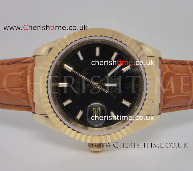 Copy Rolex Datejust Watch Black Dial Brown Leather