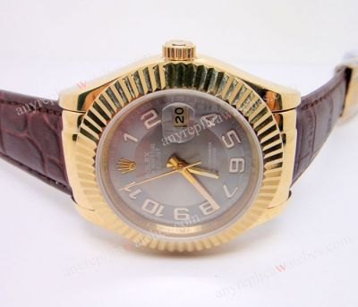 Copy Rolex Datejust Gold Bezel Brown Leather Strap Watch