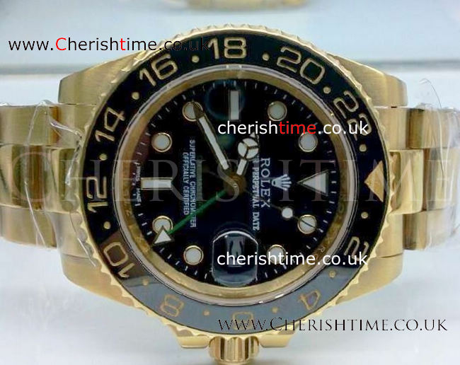 ALL GOLD GMT-MASTER II BLACK CERAMIC BEZEL