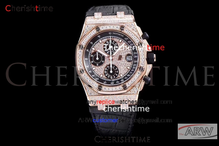 Copy Audemars Piguet Rose Gold Case Swiss Diamonds Watch