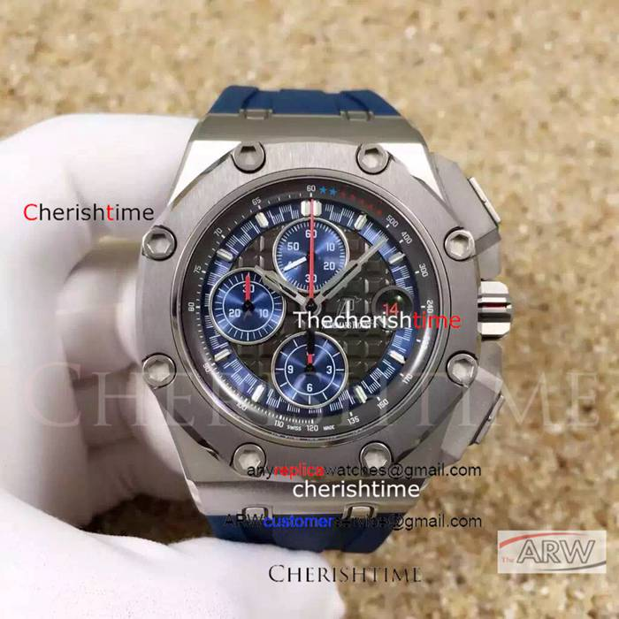 Fake Audemars Piguet Gray Dial Gray Bezel Blue Strap Swiss Watch