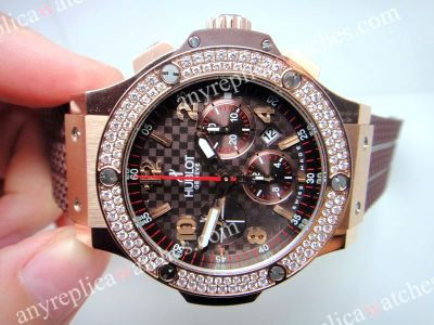 HUBLOT BIG BANG CAPPUCCINO GOLD DIAMONDS - Chololate Dial - 7750