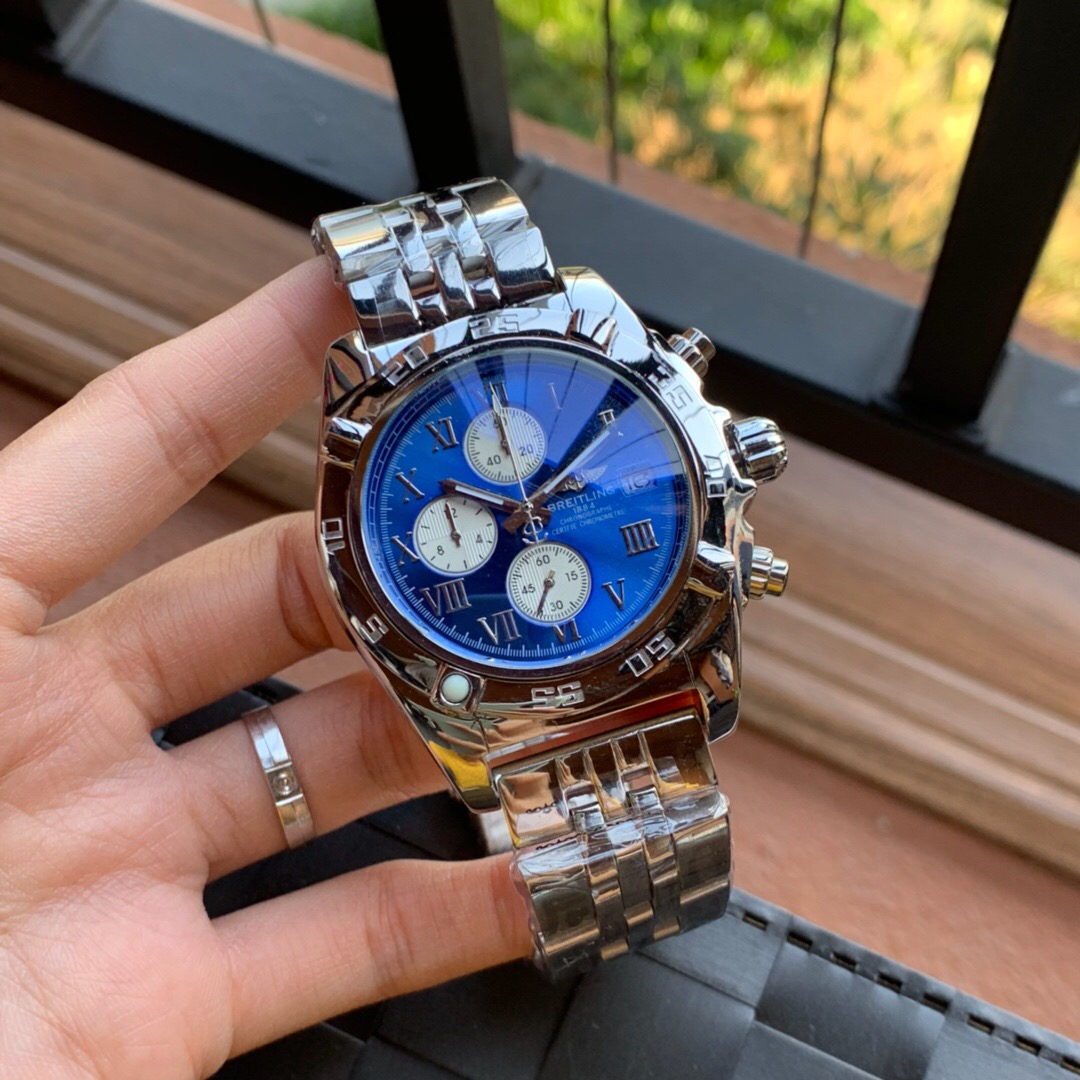 Best Quality Copy Breitling Certifie Blue Dial SS Watch