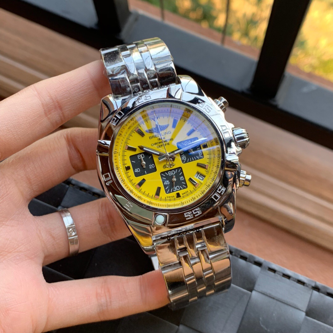 Best Quality Copy Breitling Certifie Yellow Dial Watch