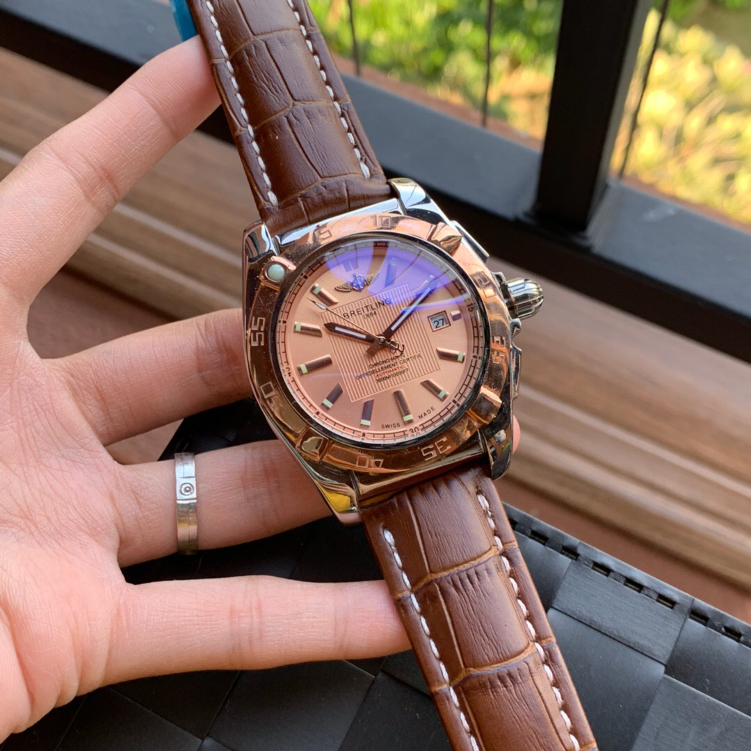 Best Quality Copy Breitling Chronomatic Rose Gold Dial Watch
