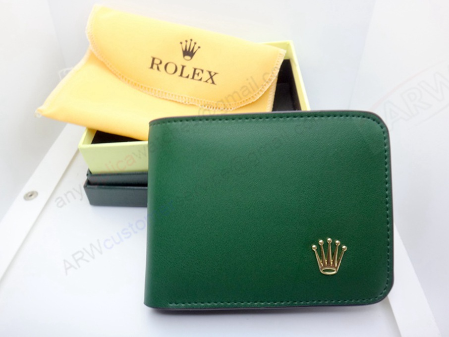 Best Quality Rolex Replica Green Leather Short Wallet