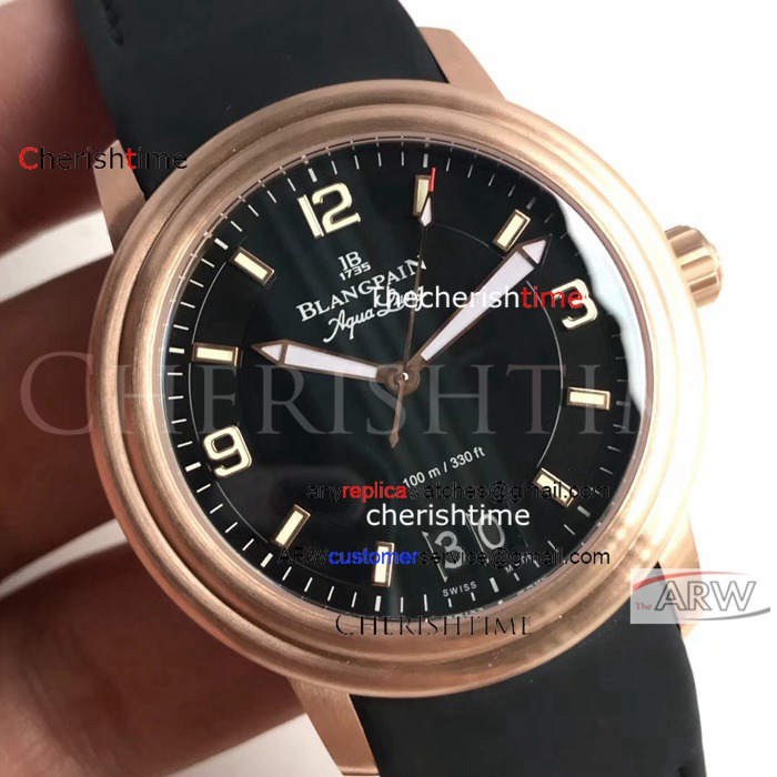 Copy Blancpain Black Dial Rose Gold Case Black Band Swiss Watch