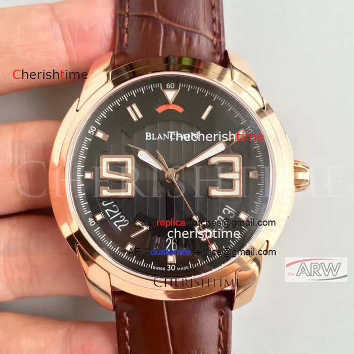 Copy Blancpain Black Dial Rose Gold Case Brown Band Swiss Watch