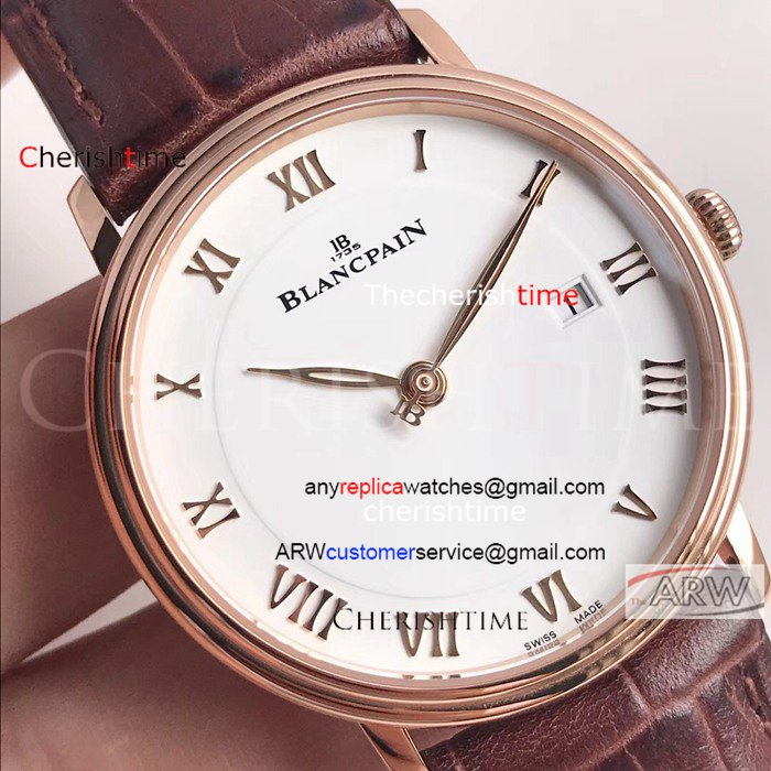 Copy Blancpain White Dial Rose Gold Case 40 mm Swiss Men Watch