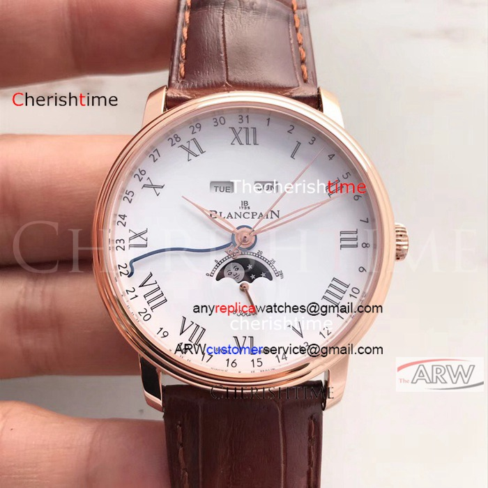 Copy Blancpain White Dial Rose Gold Case Brown Band Swiss Watch