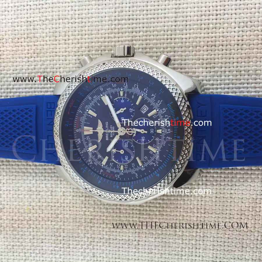 Breitling for Bentley Motors Blue Dial Blue Rubber Strap Watch