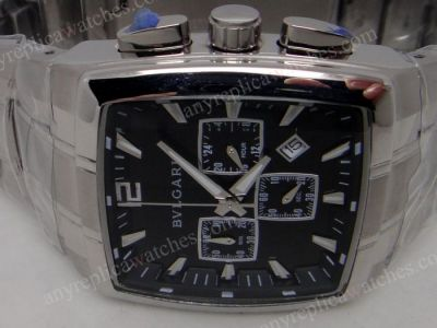 Stainless Steel Bvlgari Rettangolo Chronograph Watch Black Face