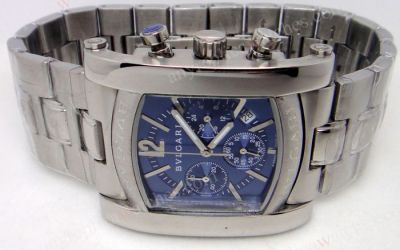 Bvlgari Assioma Blue Face Chronograph Stainless Steel Watch