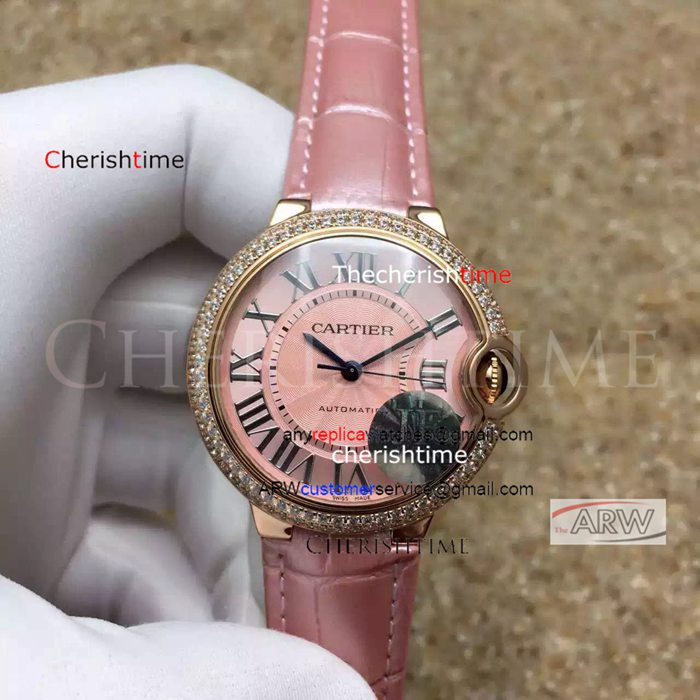 Fake Cartier Pink Face Gold Case Pink Leather Strap Swiss Watch
