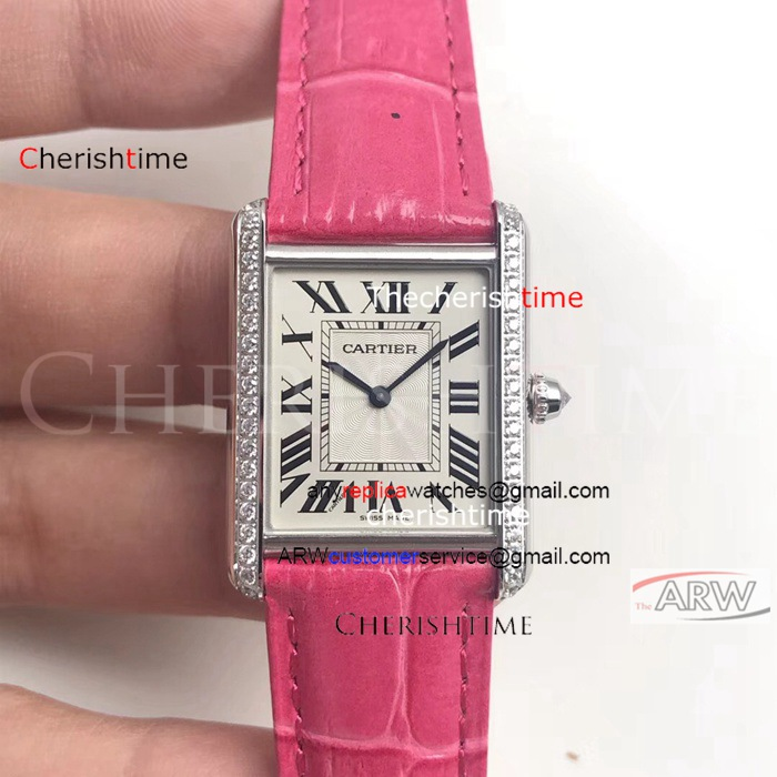 Copy Cartier White Dial Pink Leather Strap Swiss Watch