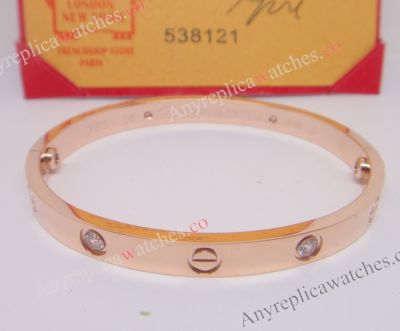 Cartier love bracelet Rose Gold Bracelet with 4 Diamonds