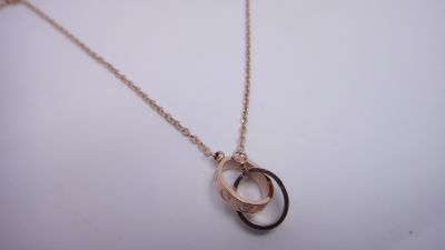 Cartier Pink Gold Chain LOVE Necklace with Double Rings Pendant