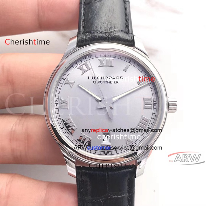 Copy Chopard Sliver Dial Black Leather Band 9015 Swiss Watch