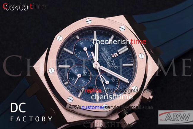 Clone Audemars Piguet Blue Dial Blue Rubber 316L Swiss Watch