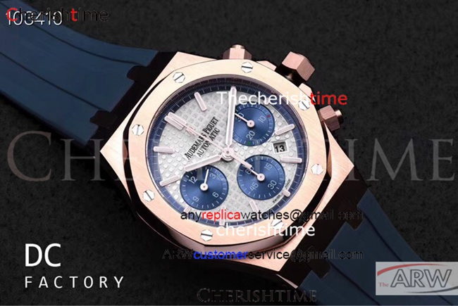 Clone Audemars Piguet Gray Dial Blue Rubber 316L Swiss Watch