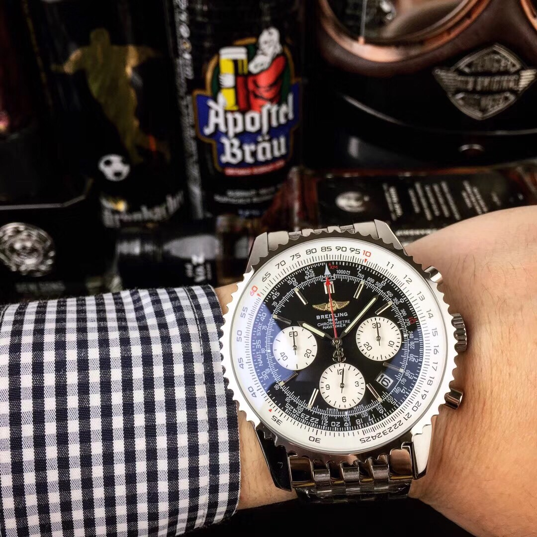 Clone Breitling Navitimer Black Dial Stainless Steel Watch