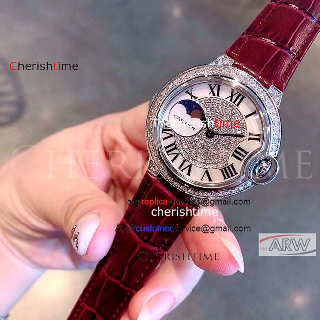 Clone Cartier Diamonds Stainless Steel Red Band Ladies Watch