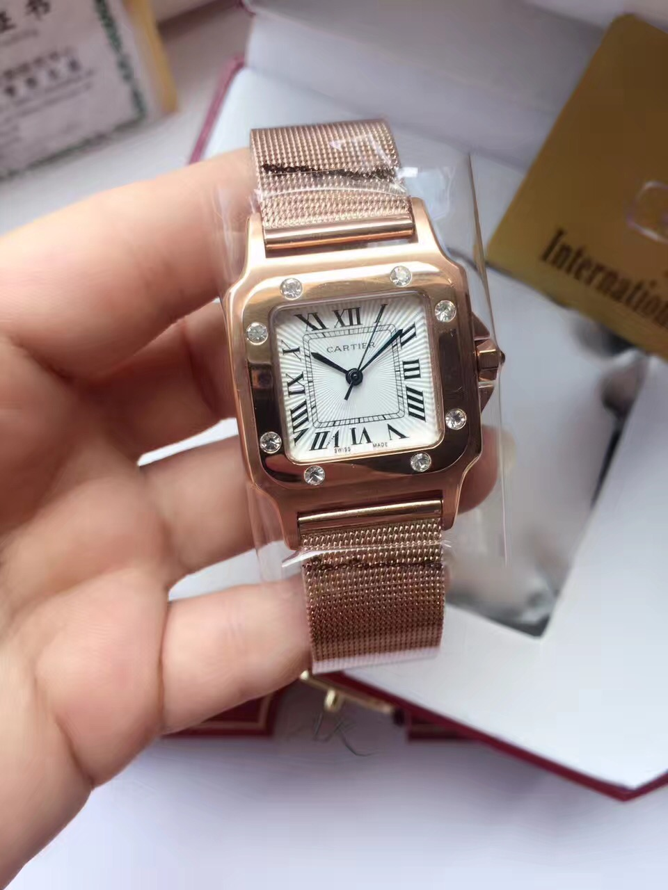 Clone Cartier White Dial 316L Rose Gold Case Ladies Watch