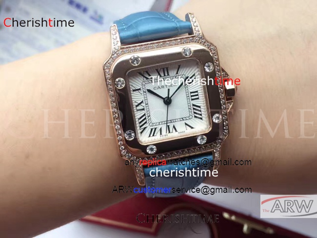 Clone Cartier White Dial Blue Strap 316L Rose Gold Ladies Watch