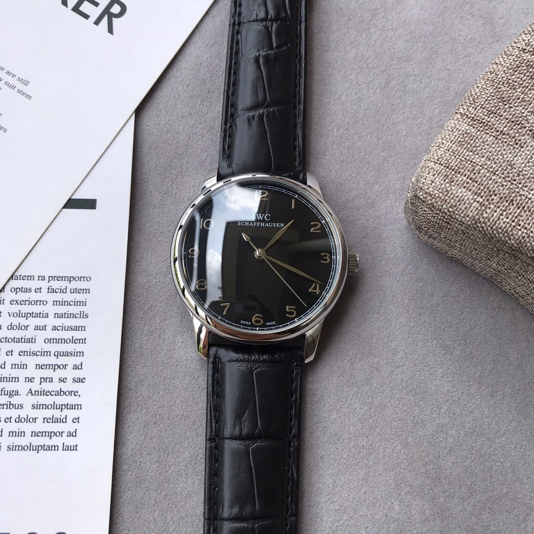 Clone IWC Portugiese Black Dial Black Leather Strap Watch
