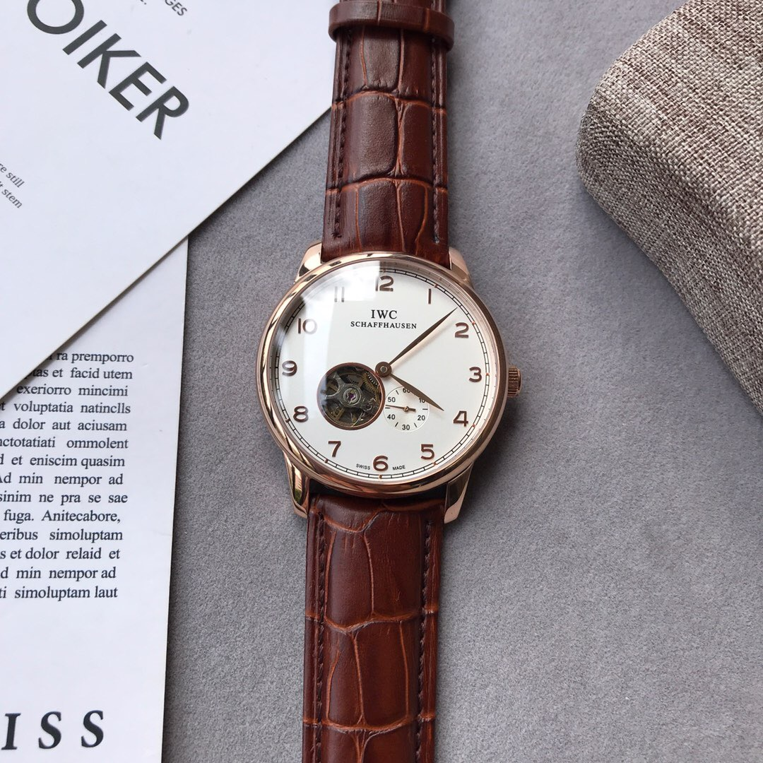 Clone IWC Portugiese White Dial Brown Leather Strap Watch