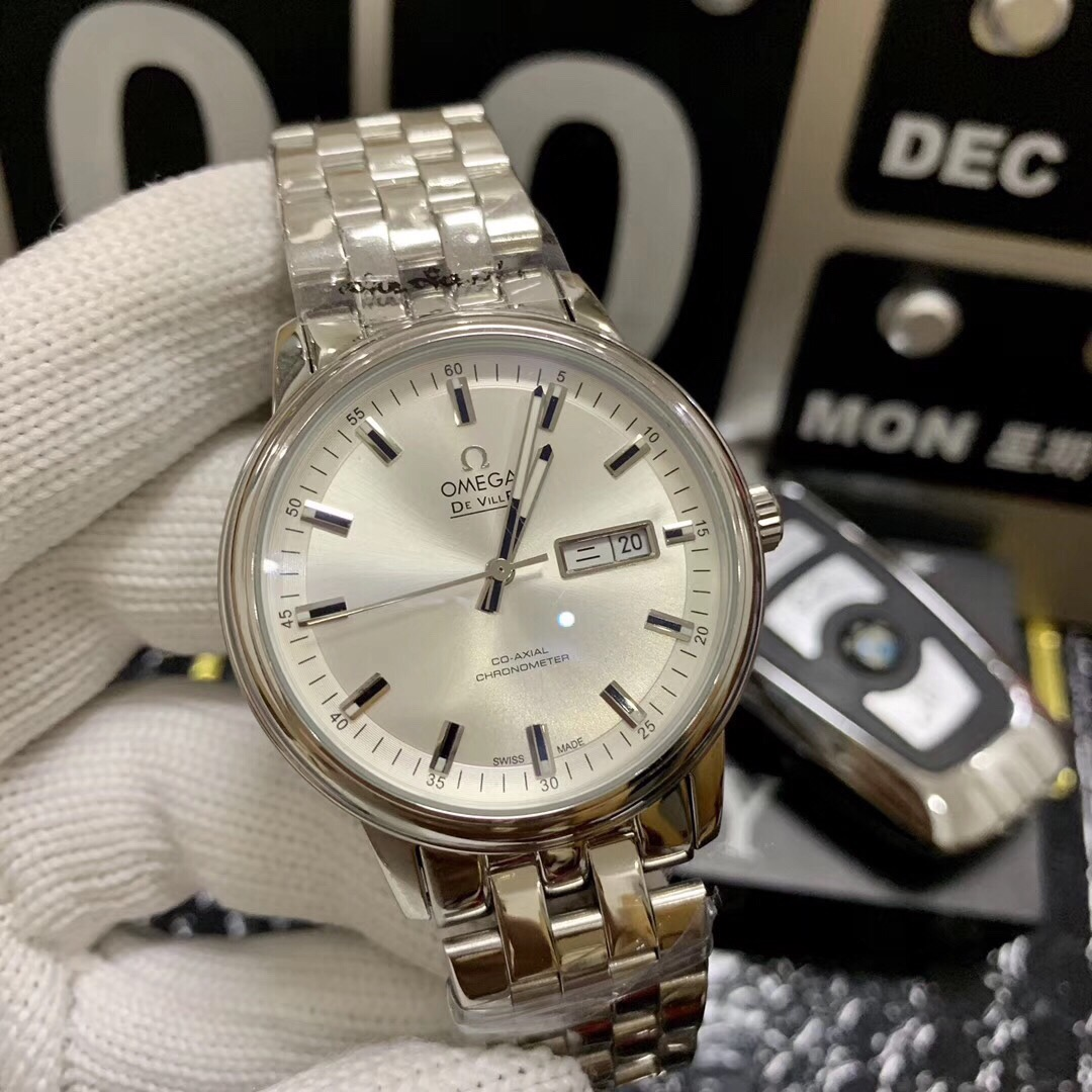 Clone Omega De Ville White Dial SS Watch