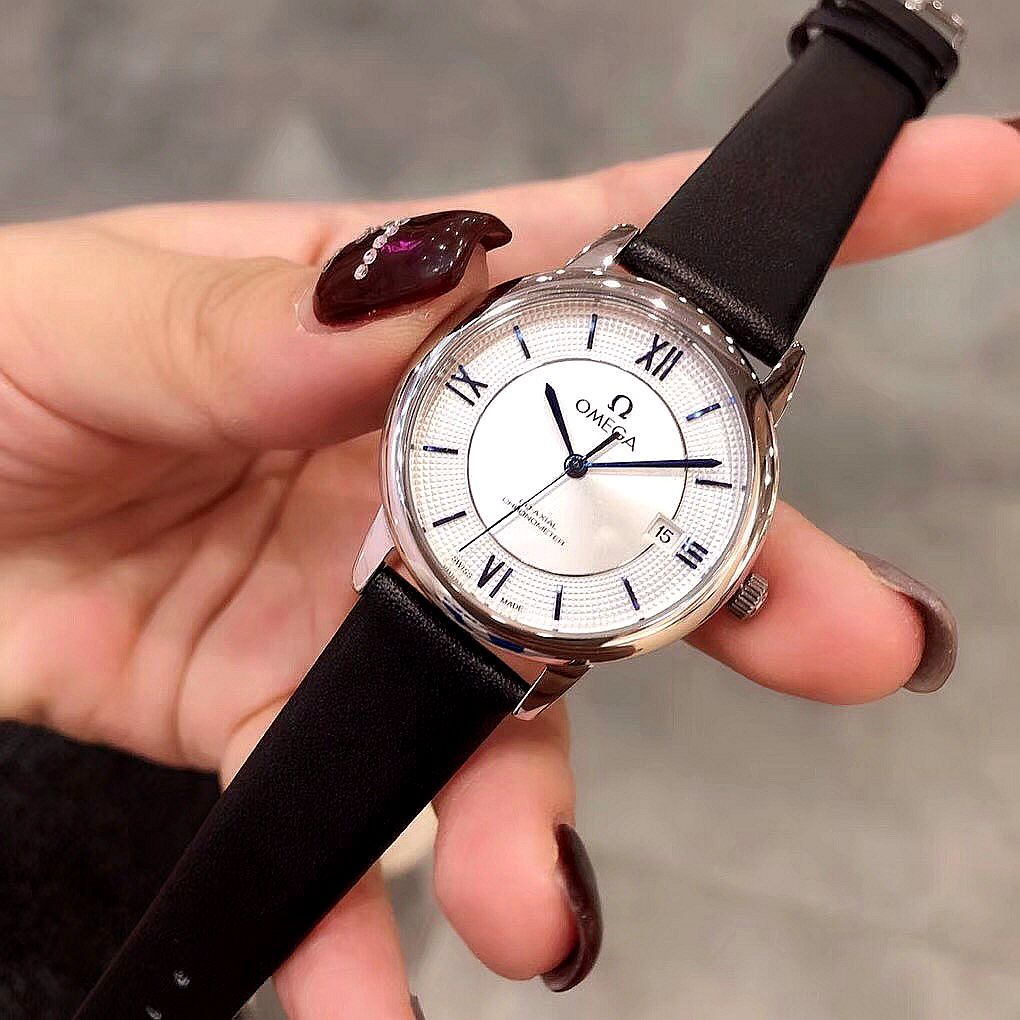 Clone Omega White Dial Black Band Black Scale Ladies Watch