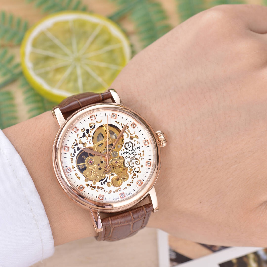 Clone Patek Philippe Rose Gold Bezel Brown Leather Strap Watch