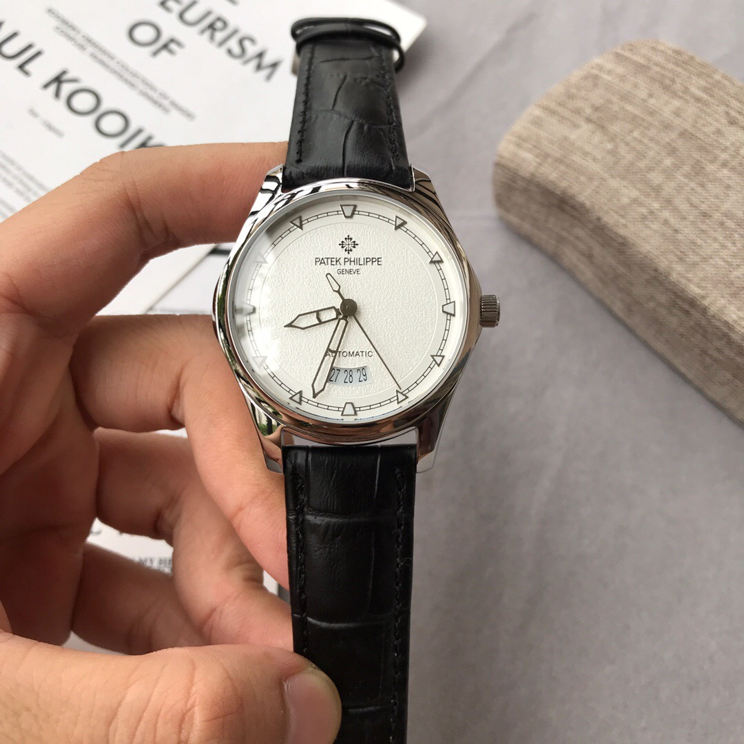 Clone Patek Philippe White Dial Black Leather Strap Watch