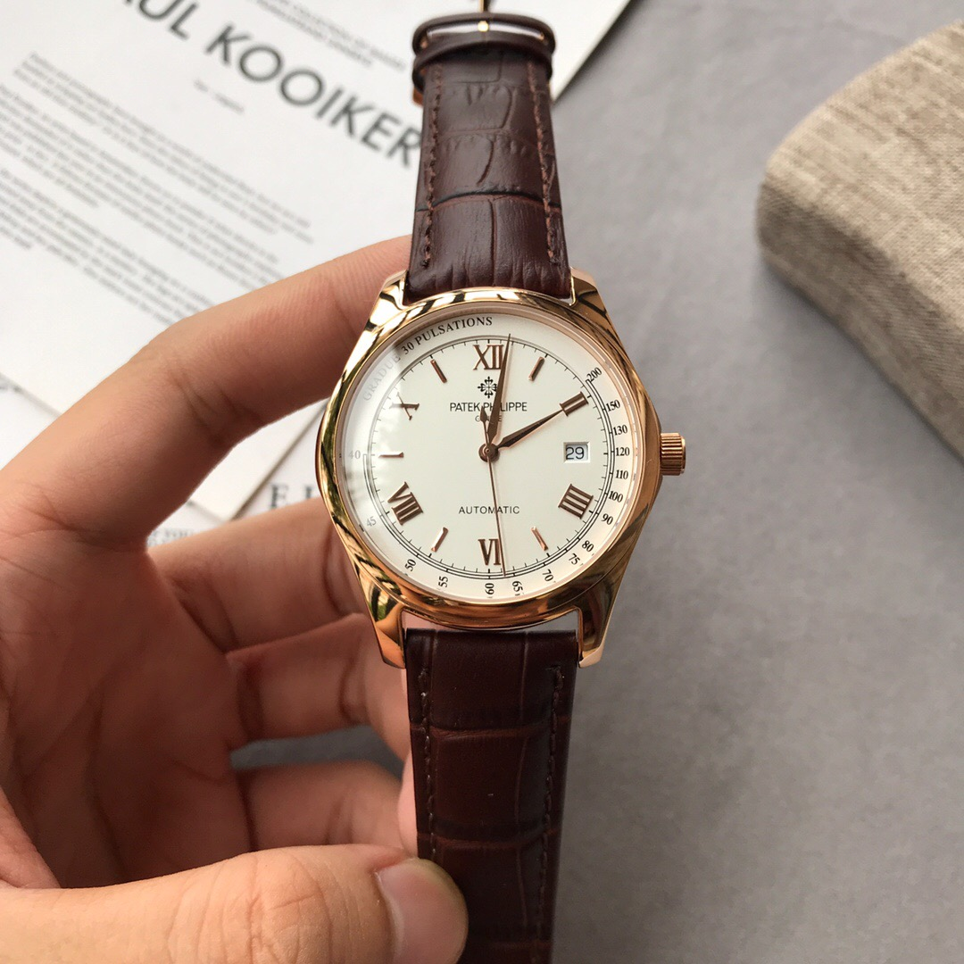 Clone Patek Philippe White Dial Brown Leather Strap Watch