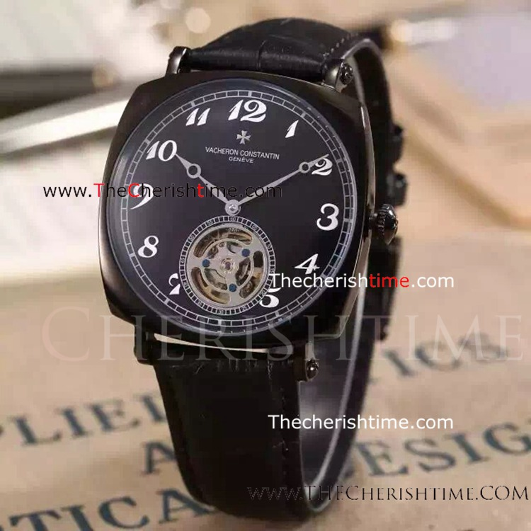 Clone Vacheron Constantin Tourbillon All Black Automatic Watch