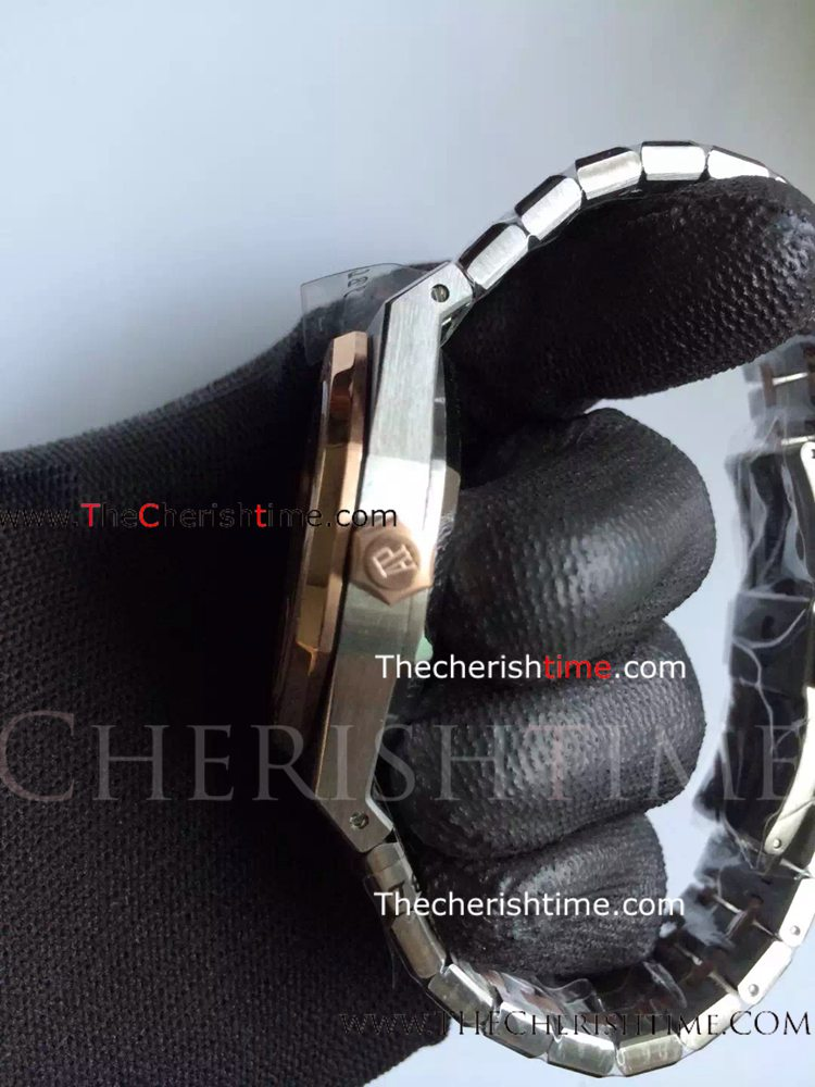 Copy Audemars Piguet Rose Gold Bezel Royal Oak Watch / Wholesale