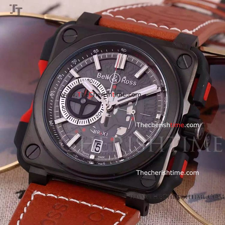Copy Bell & Ross Black Chronograph Dial Red Leather Watch