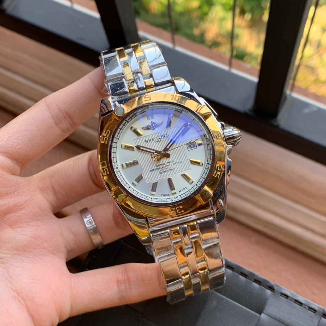 Copy Breitling Chronomatic White Dial 2-Tone Gold Watch