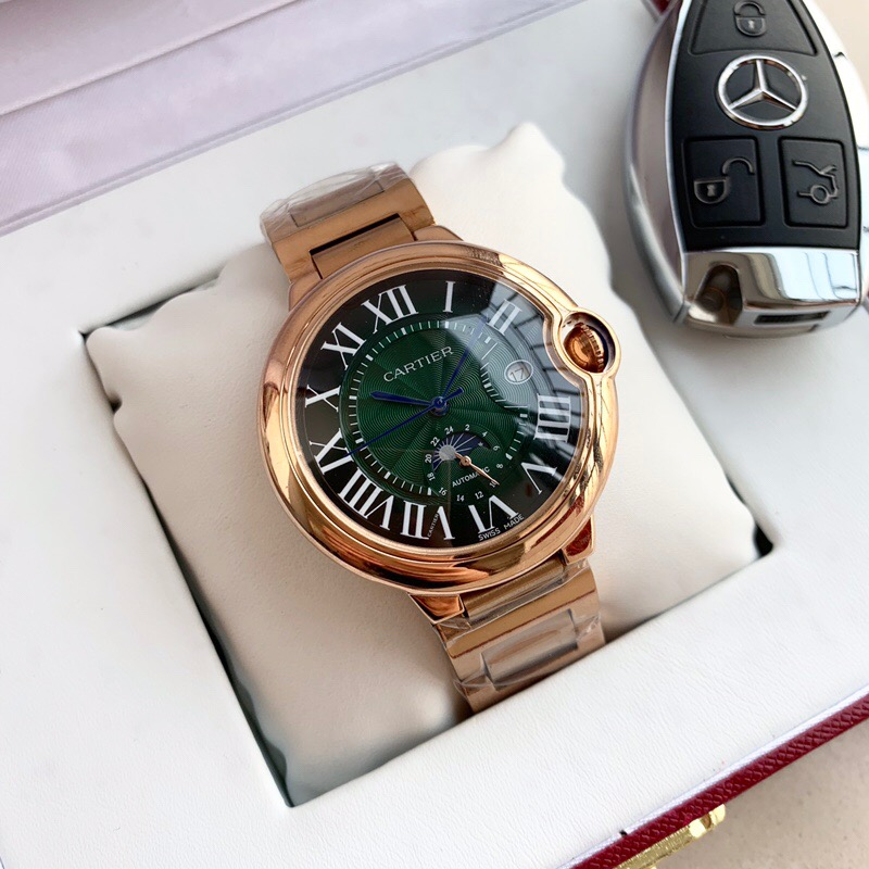 Copy Cartier Green Dial Rose Gold Men's Watch