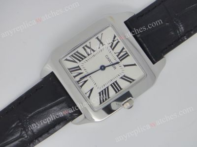 Replica Cartier Tank Watch Black Leather Strap