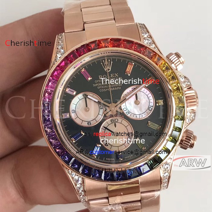 Copy Rolex Rainbow Bezel Black Dial Rose Gold Case Watch