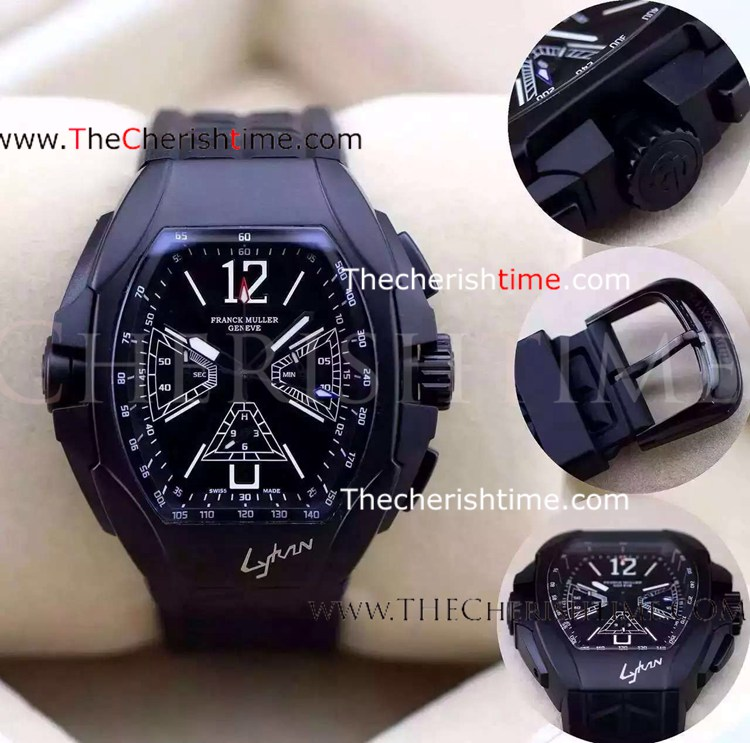 Copy Franck Muller All Black Chronograph Rubber Watch