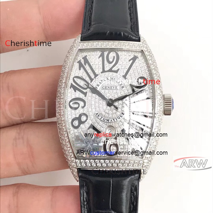 Copy Franck Muller Diamonds Case Black Strap Swiss Watch
