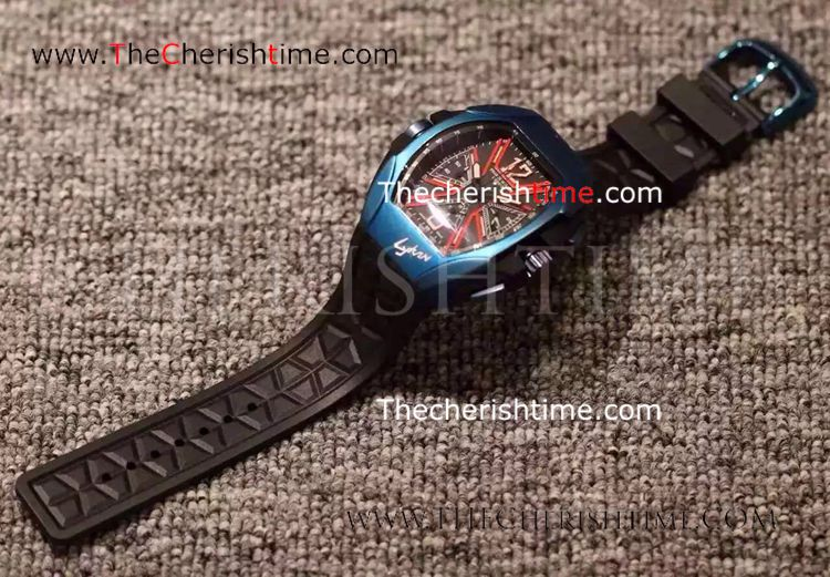 Copy Franck Muller Lykan Hypersport Blue Case Rubber Watch