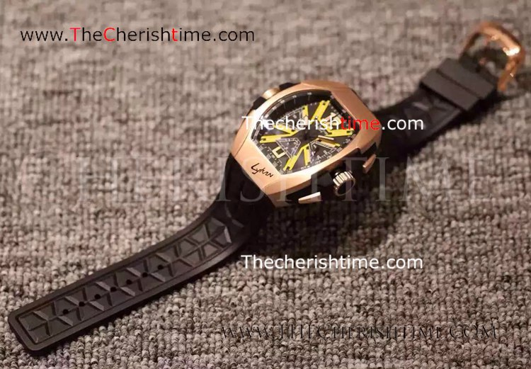 Copy Franck Muller Lykan Hypersport Rose Gold Rubber Watch